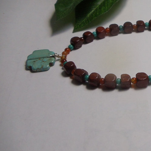 Necklace Turquoise Pendant on Brown Wood Beads