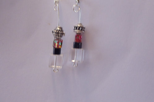Vintage Earrings with Silver, Pink, Black and Crystal Beads