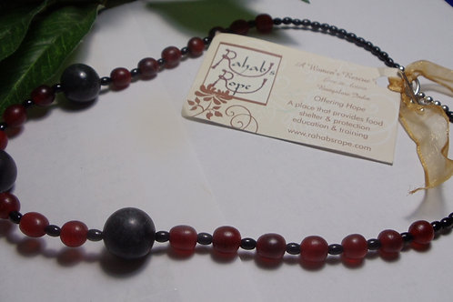 Necklace Rahab's Rope Red Horn and Black Stone