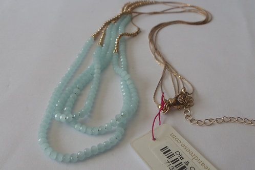 Vintage Necklace Three Strands Tiny Blue Beads with Gold Chains
