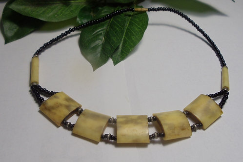 Vintage Necklace with Horn and Beads