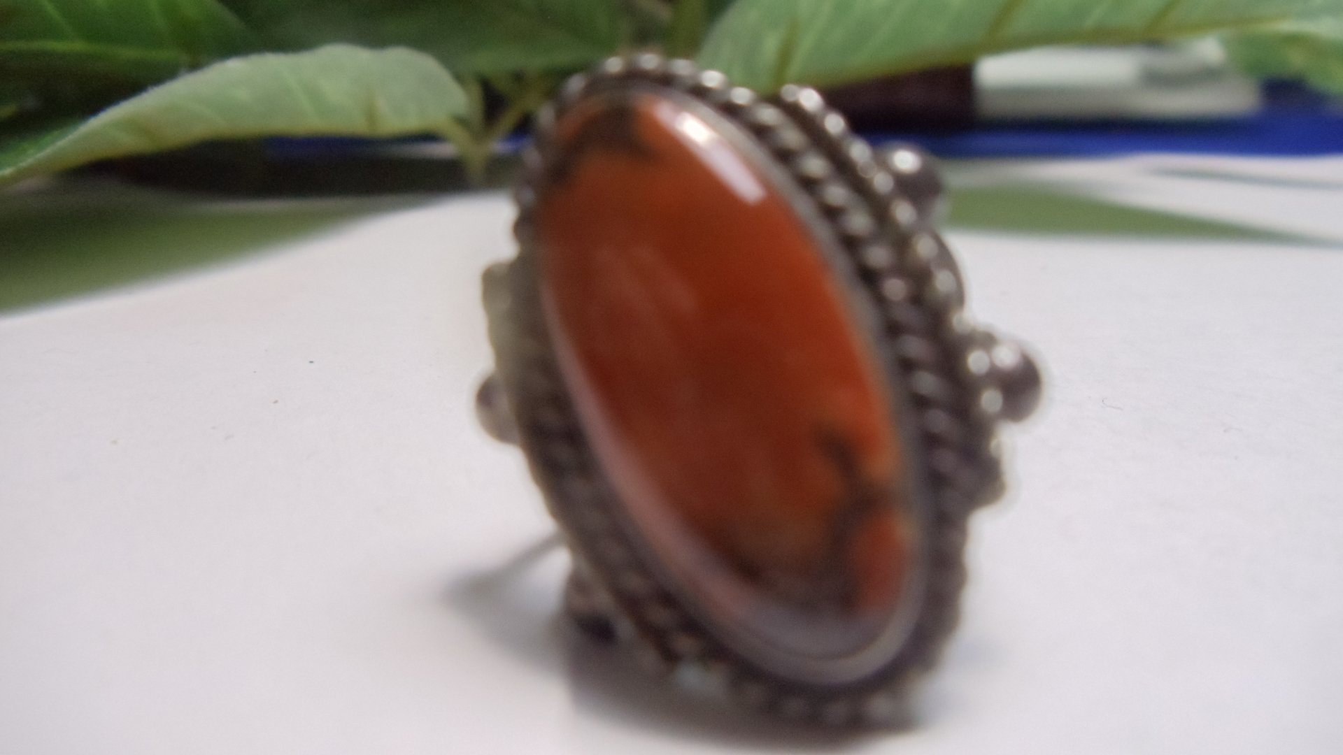 Oval Reddish Brown Stone Ring