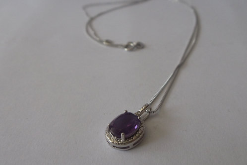 Necklace Sterling Silver Chain and Amethyst Pendant