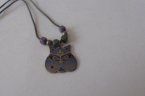 Necklace Girls Vintage Owl in Purple