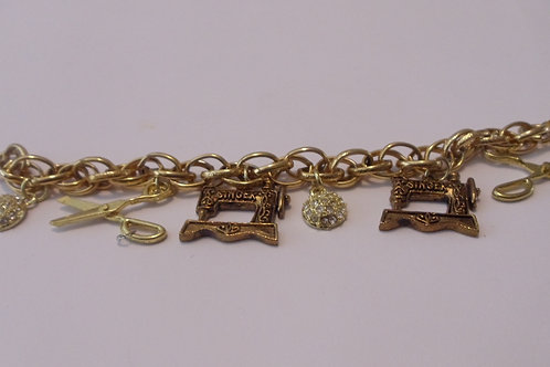 Bracelet with Sewing Charms/ Gold Bracelet Sewing Charms/ Char Bracelet