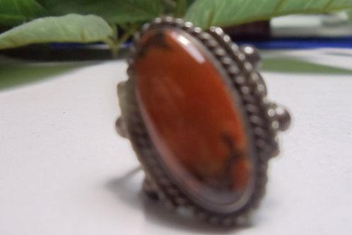 Ring Oval Reddish Brown Vintage