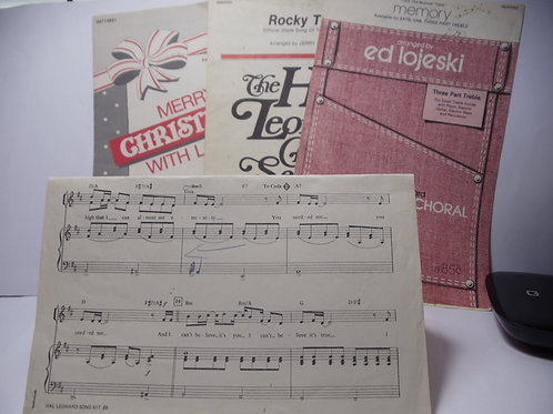 Musical Sheets, Song Pages, Lot of 4 Selections for Crafts