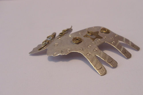 Moose Vintage Pin with Embellishments