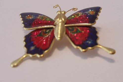 """Vintage Pin of """"Dark Pink and Blue Butterfly"""""""