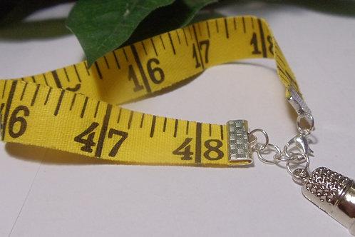 Bracelet Measuring Tape with Thimble Charm
