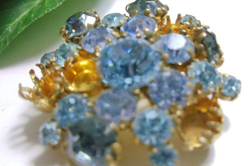 Pin Vintage Blue and Gold Rhinestones
