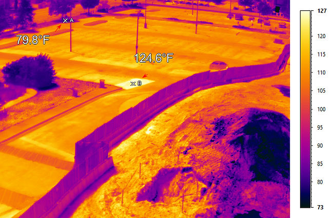Thermal map capture of shaded and non-shaded areas on a hot July day in Richmond, VA