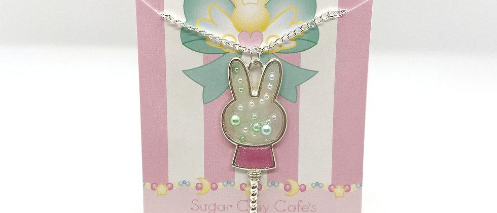 Pearl Bunny Bezel Necklace