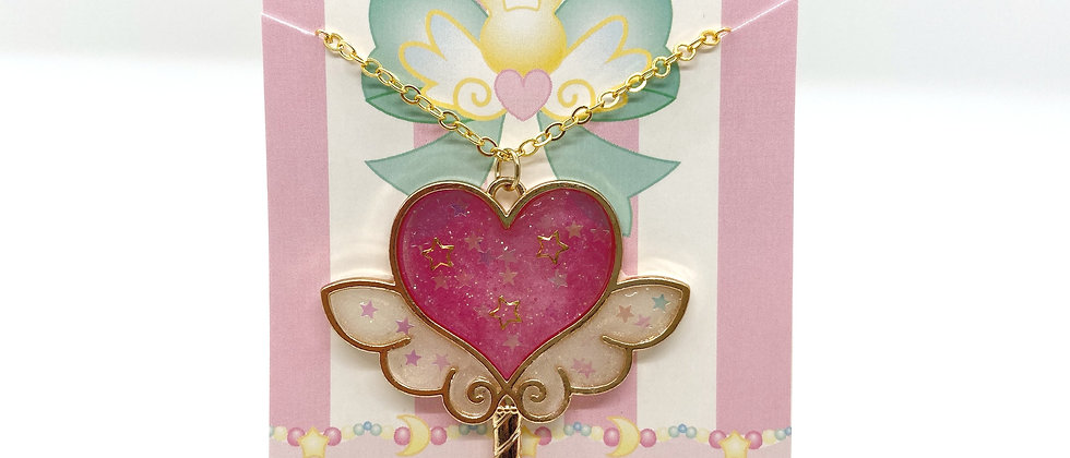 Sweet Heart Wand Bezel Necklace