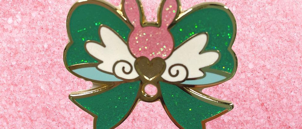 Bunny Bow Loop Charm Enamel Pin