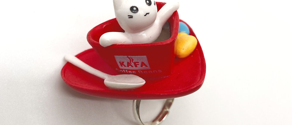 Heart Cup Kitty Ring