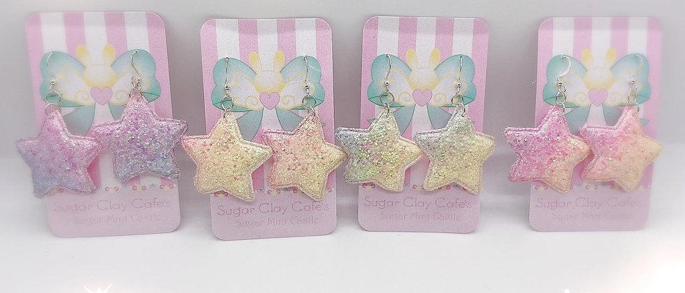 Chunky Glitter Star Earrings