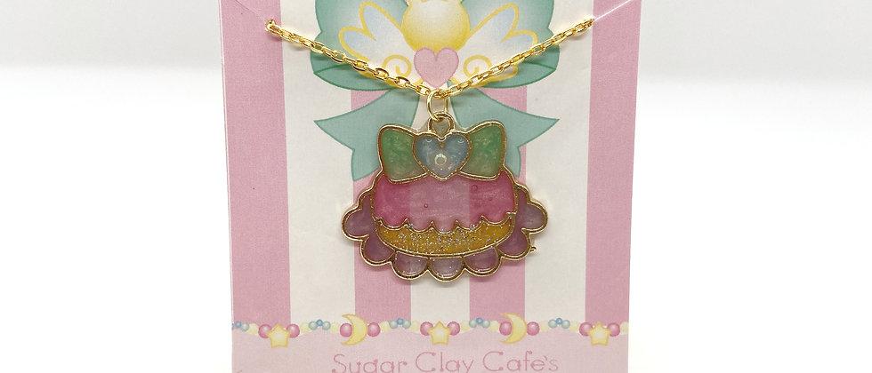 Pink Macaron Bezel Necklace