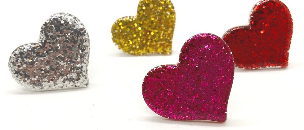 Glitter Heart Rings
