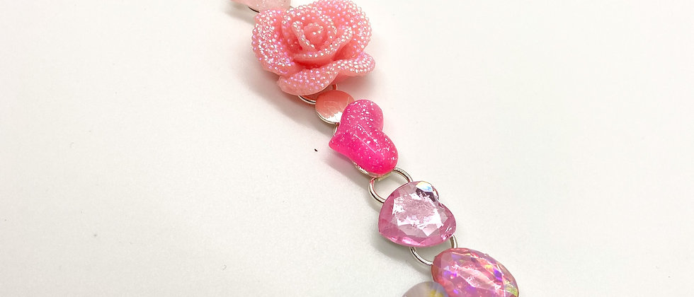 Pink Glitter Rose Bracelet