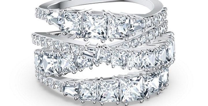 Swarovski Twist Wrap ring White, Rhodium plated