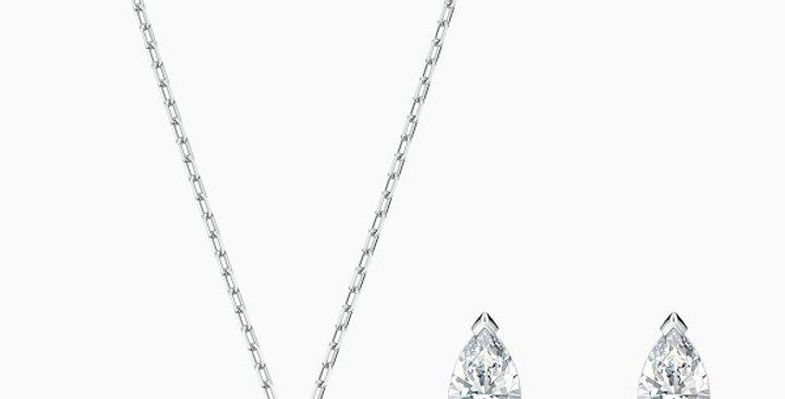 Swarovski smykkesett Attract Pear, hvitt