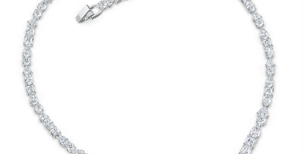 Swarovski collier Tennis Deluxe Mixed V Necklace, White, Rhodium plated