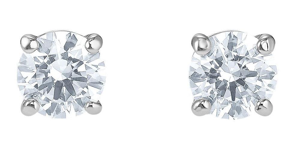 Swarovski øredobber Attract Round Pierced Earrings, White, Rhodium plated