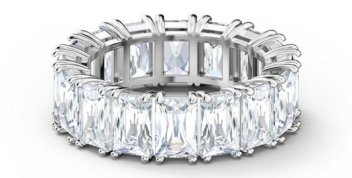 Swarovski Vittore wide ring White, Rhodium plated