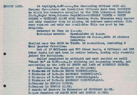 2nd Suffolk War Diary 14 August.JPG