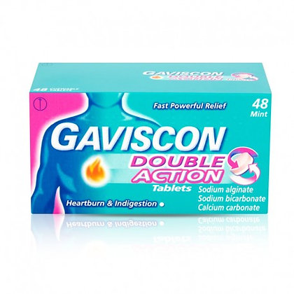 Gaviscon Double Action Heartburn and Indigestion Tablets, Pack of 48