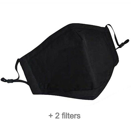 Reusable Cotton Face Mask (Black) + Filters