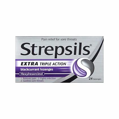 Strepsils Triple Action Blackcurrant Lozenges 24s