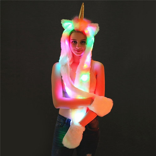 Light Up LED Unicorn Plush Hat / Scarf