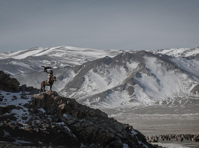 Eagle Hunter's Empire . a Kazakh Eagle Hunter with his Golden Eagle.  Altai Mountains, Western Mongolia. © 2017