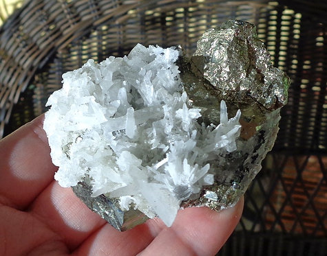 Quartz Crystals Cluster with Pyrite