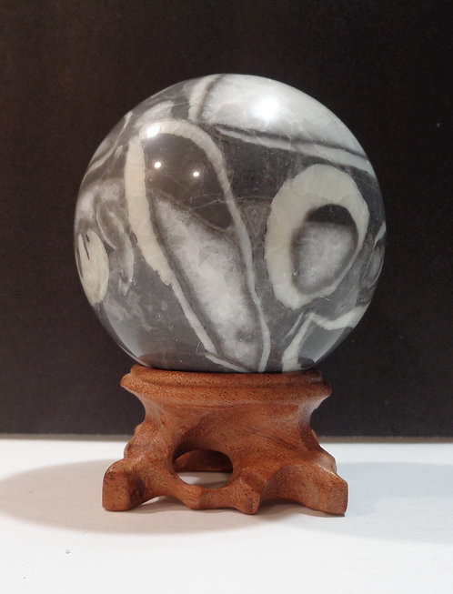 Fossil Clam Shell Jasper Sphere with Stand - Thousand Eye Jasper