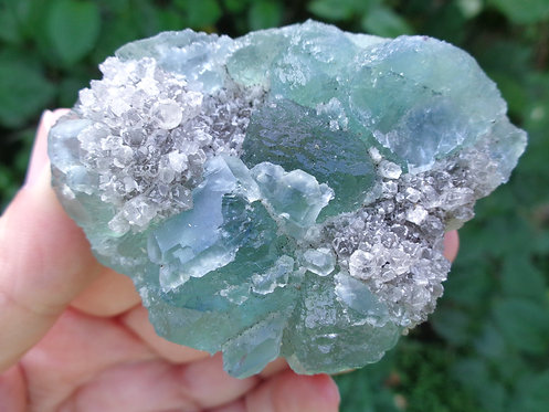 Natural Blue-Green Trapezoidal Fluorite
