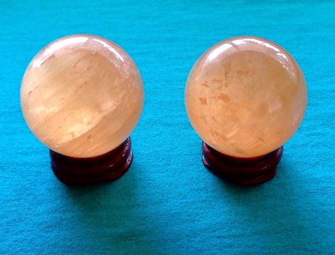 Citrine Calcite 40-41mm Sphere with Stand