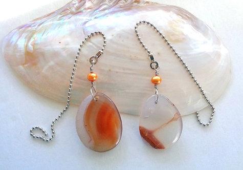 Pair of Orange Agate & Tangerine Freshwater Pearl Bead