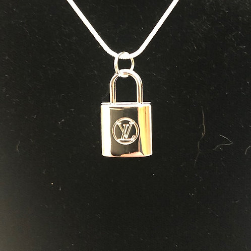 LV SILVER lock necklace- (Designer Inspired)