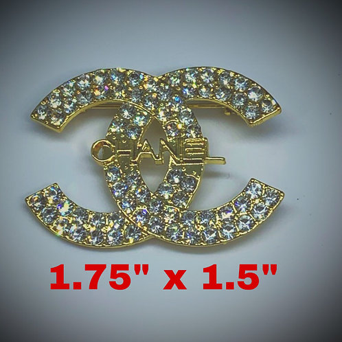 "CC Gold 1.75"" x 1.5"" Brooch (Designer Inspired)"