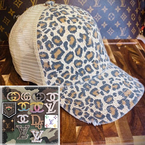 Leopard hat with tan back