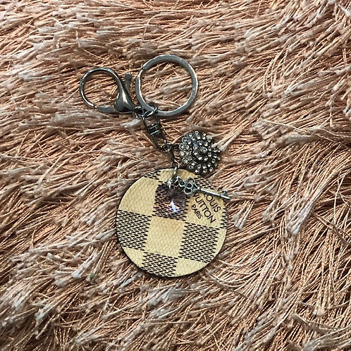 LV Checker pattern key chain