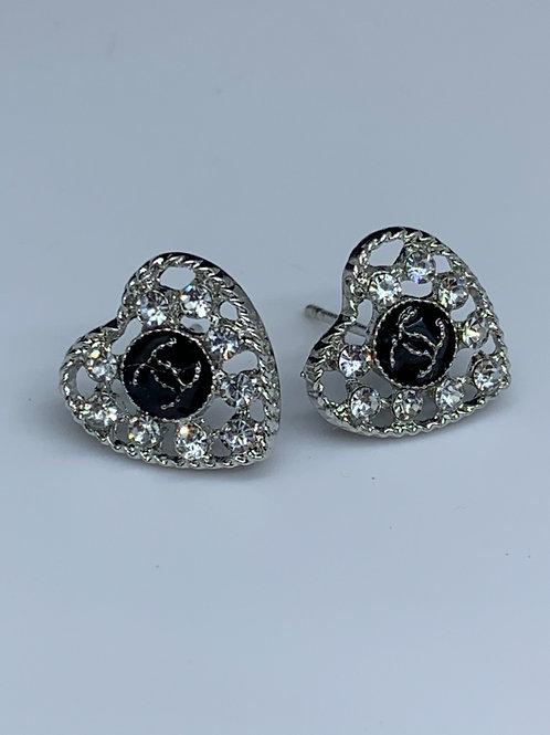 CC Silver Heart Earrings (Designer Inspired)