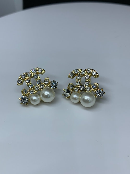 CC Gold and Pearl Earrings (Designer Inspired)