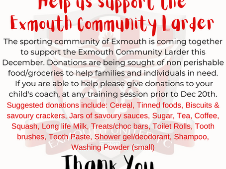 Exmouth United supporting the Exmouth Community Larder