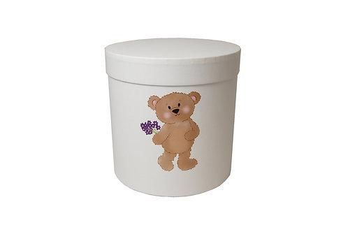 Medvídek s lila květinou 20v20 cm