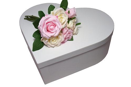 Krabice srdce průměr 45 v 15 cm bílá