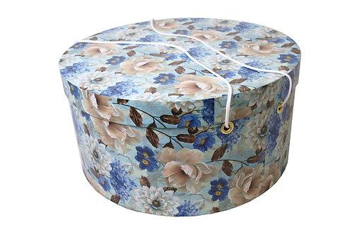 Olivie na klobouky modré kytky průměr 40 v 20 cm